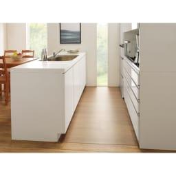 アキレス透明シリーズ キッチンフロアマット Neo (イージーオーダー) コの字型キッチンにすき間なく敷ける! ※写真は幅180cm奥行90cmで撮影