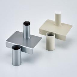 ダイソン専用 スティッククリーナースタンドZERO 収納力アップパーツセット 左から(イ)シルバー (ア)オフホワイト 収納力アップパーツ(収納力アップパーツセット・収納力アップパーツ単品)を合わせて使えば最大で背面に5個までノズルを収納可能。(パーツは2種類あります)
