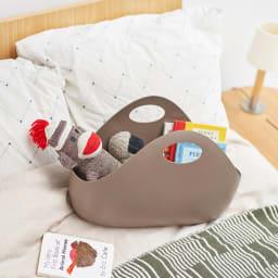 ENOTS/エノッツ インテリアバッグ バスケット 同色2個セット (ウ)ブラウン お子様のおもちゃの収納に。