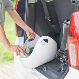ENOTS/エノッツ インテリアバッグ バスケット 同色2個セット (ア)ホワイト 車に積んで、ショッピングバッグとしても。