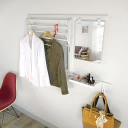 【取付レール付き】壁に付けられる収納シリーズ ランドリーハンガー