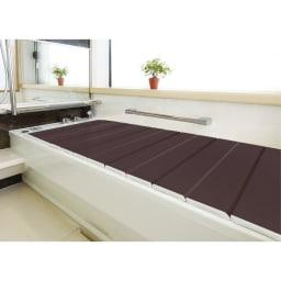 銀イオン配合 軽量・抗菌 折りたたみ式風呂フタ 139×80cm・重さ2.6kg (ウ)ダークブラウン(WEB)