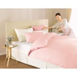 ファミリー布団用 スーパーソフト加工 シワになりにくい綿100%ベッドシーツ(ファミリーサイズ・家族用) [色見本] (イ)ピンク