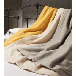 【三井毛織】エジプト超長綿やわらか綿毛布 敷き毛布 左から(カ)ミモザイエロー (イ)アイボリー (ア)グレージュ