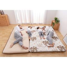 抗菌コンパクト&ワイド ファミリー布団 ベーシック 上層パッド単品 (After)一枚の布団で、家族が広々眠れます。 ※写真はファミリー240cmです。
