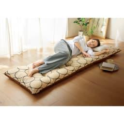 寝心地こだわりごろ寝布団 洗える専用カバー付きセット (ア)アイボリー×ブラウン