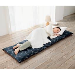 寝心地こだわりごろ寝布団 洗える専用カバー付きセット (イ)ネイビーXブラウン