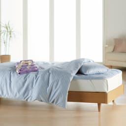 敷布団用ダブル8点(お得な完璧セット(布団+カバー)) 色見本:(ア)ブルー/ラベンダー (※写真はベッド用になります。)