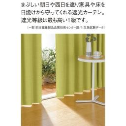 形状記憶加工多サイズ・防炎・1級遮光カーテン 150cm幅(2枚組) (カ)イエローグリーン 頼もしい遮光率99.99%