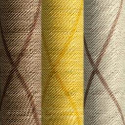 形状記憶加工多サイズ・防炎・1級遮光カーテン 200cm幅(1枚) 左から(ソ)ウェーブブラウン(セ)ウェーブイエロー(ス)ウェーブライトベージュ