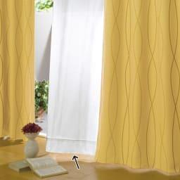 形状記憶加工多サイズ・防炎・UV対策レースカーテン 100cm幅(2枚組) コーディネート例(ウ)ウェーブホワイト 縦ラインにしなやかに流れるウェーブ柄が空間に広がりを。