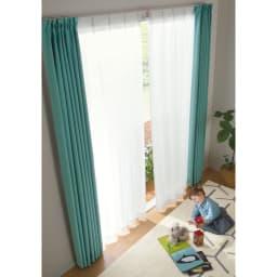 形状記憶加工多サイズ・防炎・UV対策レースカーテン 130cm幅(2枚組) コーディネート例(ア)ホワイト
