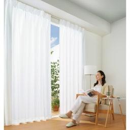 ウェーブロン(R)使用 UVカットレースカーテン 2枚組 UVカットで紫外線を防ぎ、室内での日焼けや家具・フローリングの色あせを防止。 (一財)日本繊維製品品質技術センター調べ(生地試験データ)