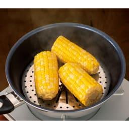 vitacraft/ビタクラフト オリビア 特別4点セット(深型24+フライパン20+無水フタ+蒸し板) 蒸し板を使えば料理の幅がぐーんと広がります。