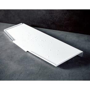オールステンレス製 シンクに渡せる水切り スリムロング用 フッ素加工トレー単品 写真