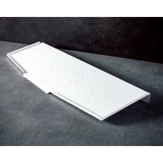 オールステンレス製 シンクに渡せる水切り スリムロング用 フッ素加工トレー単品