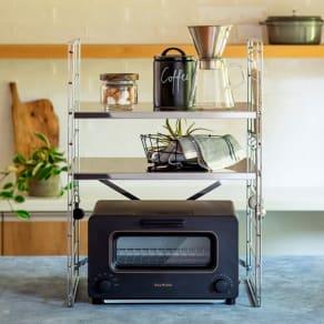 ダブルフレーム ステンレス棚 トースターラック 2段 45cm 写真