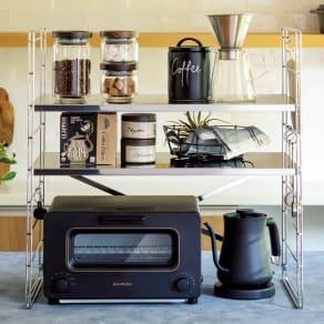 ダブルフレーム ステンレス棚 トースターラック 2段 60cm 写真