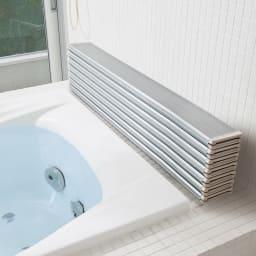 【サイズオーダー】銀イオン配合 軽量・抗菌折りたたみ式風呂フタ 奥行85cm(シルバー) シルバー色