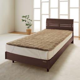 シアバター加工マイクロファイバーシーツ&カバー 敷きパッド (イ)ライトブラウン  敷きパッド 中わたがたっぷりのふかふか&暖かパッド。ホコリが出にくいのもうれしい。 敷布団・マットレスに。