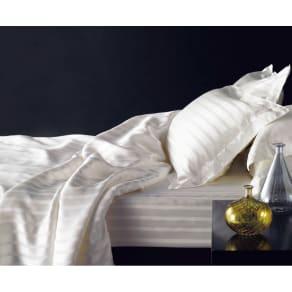 オールシルクサテン織りシーツ&カバー ボックスシーツ ホワイト シングル 写真
