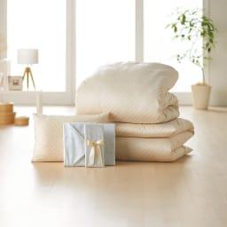 敷布団用ダブル8点(お得な完璧セット(布団+カバー)) 本気でダニにお悩みの方は、寝具をまとめて買い替えるのがオススメ。(カ)ベージュ/花柄グレー