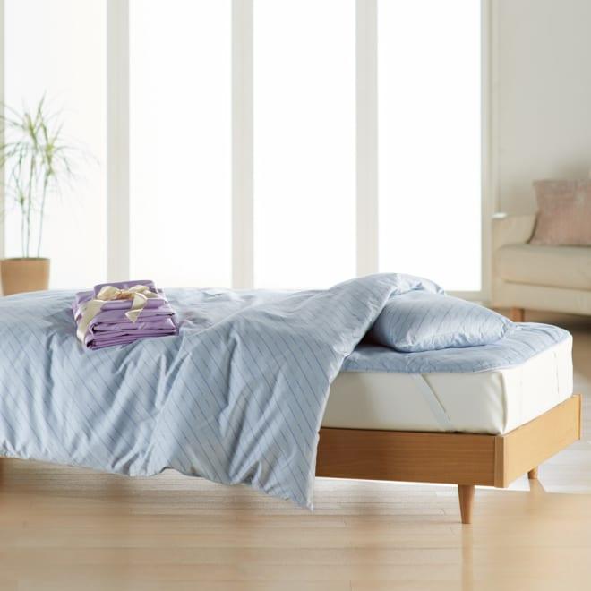 ベッド用シングル6点(お得な完璧セット(布団+カバー)) (ア)ブルー/ラベンダー