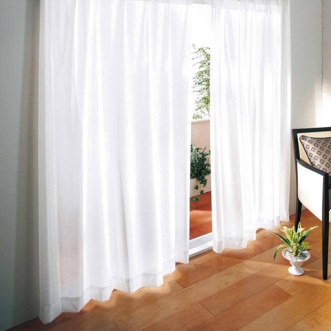 防音・遮熱・UVカット 見えにくいレースカーテン 100cm幅(2枚組) 日中の騒音対策に