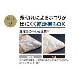3M TM シンサレート TM 高機能中わた素材布団シリーズ 敷きパッド 叩いてもホコリが出にくい 中わたの繊維はとても丈夫で、糸切れによるホコリが少なく快適です。