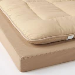 家族みんなで眠れる 抗菌コンパクト&ワイド ファミリー敷布団 幅160cm(2人用)(上層パッド下層マットセット) (イ)ライトブラウン