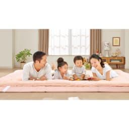 抗菌コンパクト&ワイド敷布団専用ふかふか敷き上層パッドのみ 使用イメージ(ア)ピンク