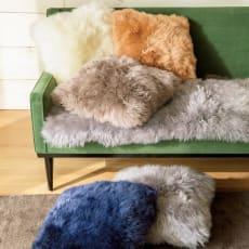 ムートン長毛クッションシリーズ クッション 約40×40cm 1枚