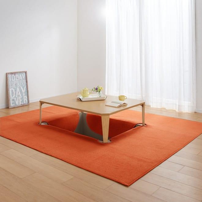 シェニールフラットラグ 掘りごたつラグ(クロス型) (カ)オレンジ