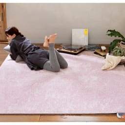 洗えるモチフワ防ダニ抗菌ラグ (ア)ミスティピンク(写真は約190×190cm)