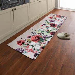 58×120cm(イタリア製ジャカード織りフラワープリントマット ローズガーデン) 写真