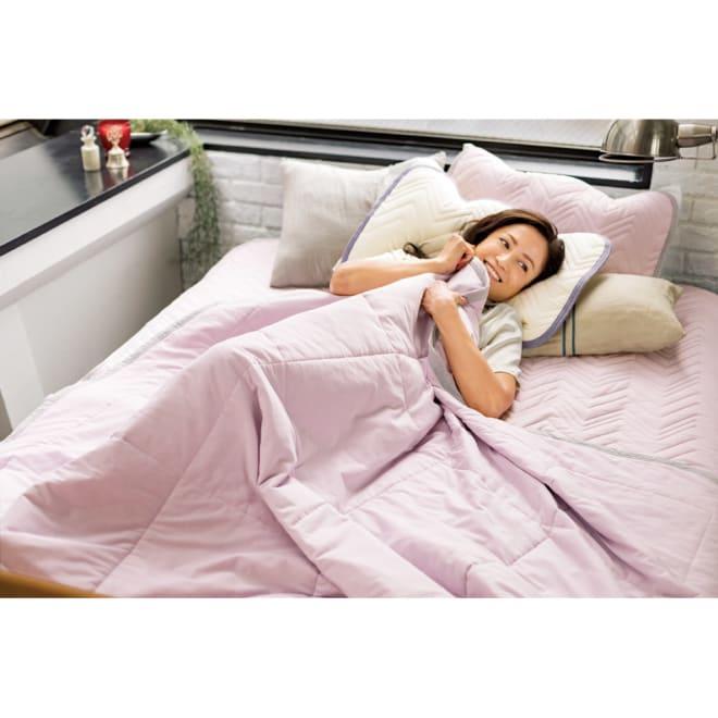西川×ディノス クールコットン寝具シリーズ 肌掛けケット (イ)ラベンダー 「探してた、今の私にピタリとくる心地よさ。」