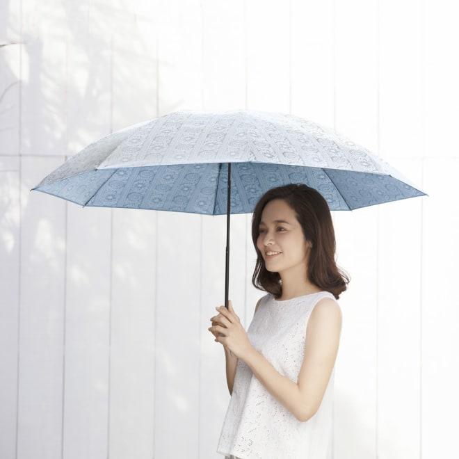 フィンレイソン 晴雨兼用大判折りたたみ日傘 60cm(直径105cm) [コーディネート例] (ア)ブルー 直径105cmの大判サイズ!