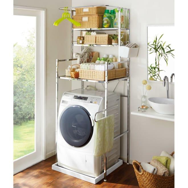 奥行たっぷり ステンレス棚の洗濯機ラック 棚3段 幅60~89cm 洗濯機の上を収納スペースとしてたっぷり使いたい方におすすめのランドリーラックです。