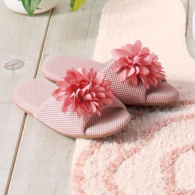 花モチーフ付き メッシュスリッパ (ア)ピンク系