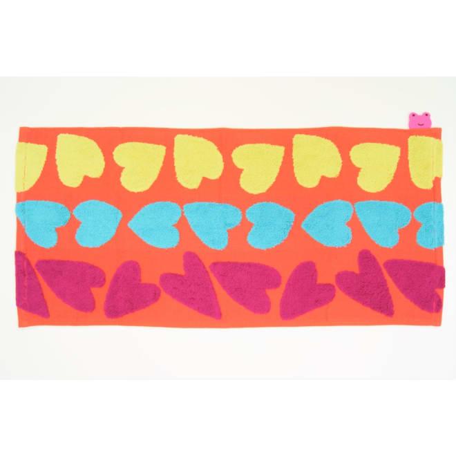【アツコマタノ/ATSUKO MATANO】フェイスタオル同色2枚組 ビッグハート オレンジ ※お届けは、フェイスタオル同色2枚組です