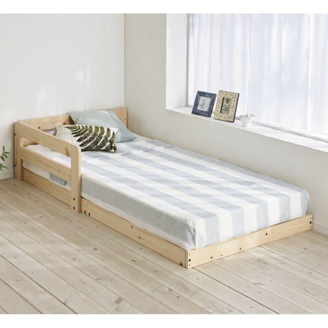 並べてもずれにくいサイドガード付きひのきすのこベッド コーディネート例 ※写真はシングルです。お届けはベッドフレームのみです。