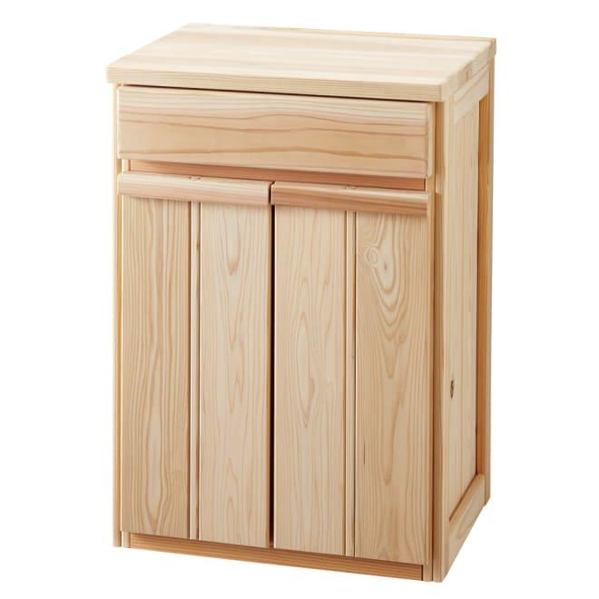 国産杉のキッチン収納シリーズ 分別ダストボックス 2分別タイプ 幅49cm (ア)ナチュラルは優しくあたたかみがあり、あわただしいキッチンにリラックス空間を演出。