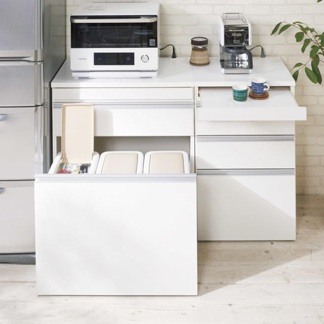 組立不要 スライド天板付きキッチン収納 ゴミ箱3分別 幅76cm コーディネート例(イ)ホワイト