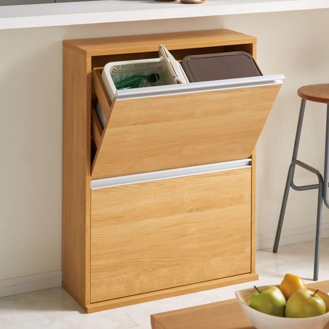 ゆっくり閉まる家具調ダストボックス 4分別 幅70.7奥行28高さ94cm (イ)ナチュラル キズや汚れにも強い美しい仕上げ。お手入れもラク。