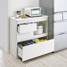 作業カウンター付きコンパクト食器棚 ロータイプ 幅89高さ89cm