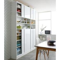 狭いキッチンでも置ける!突っ張り式 薄型 引き戸 キッチン収納 食器棚 奥行30cmタイプ 幅120cm