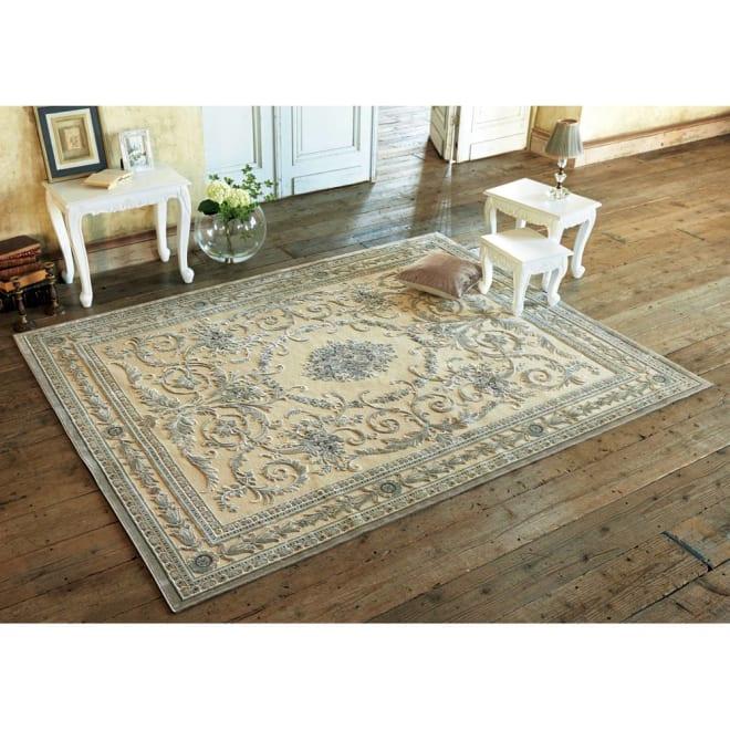 ベルギー製クラシック柄 モケット織りラグ【絨毯】 (ア)アイボリーベージュ系 ※写真は、195×250cmです。