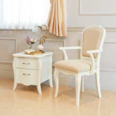 エレガントラインホワイト家具シリーズ ナイトテーブル