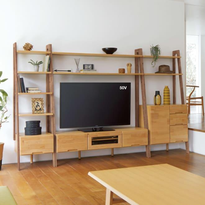 北欧風リビングシェルフシリーズ テレビ台 幅150cm コーディネート例(ア)ナチュラル×ダークブラウン(フレーム)