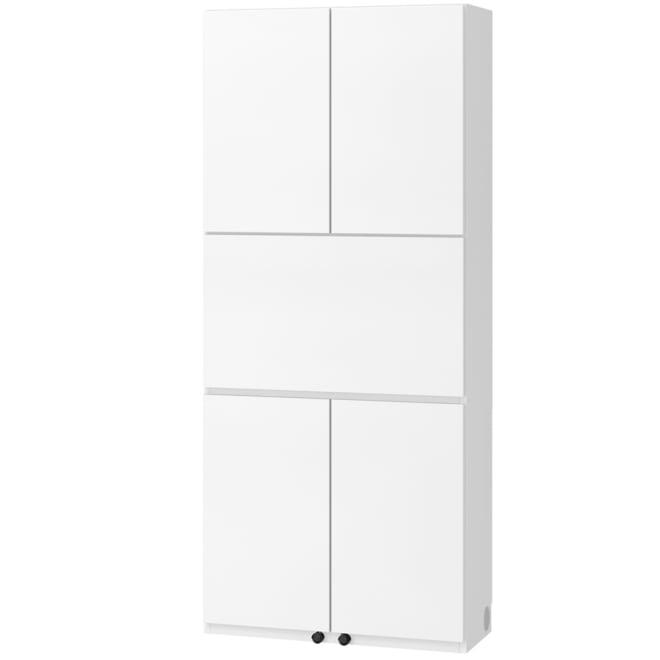 奥行34cm薄型で配線も隠せるスマートなPCデスク壁面収納 幅78高さ180cm (ア)ホワイト